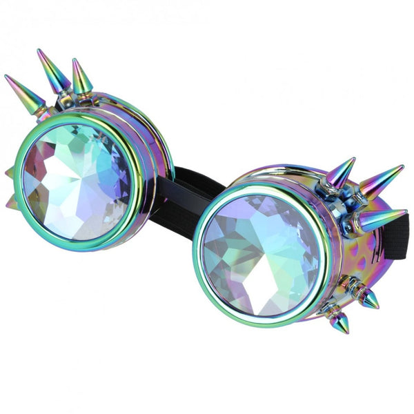 Maz Kaleidoscope Steampunk Spike Goggles Glasses Cyber Punk Gothic - Rainbow