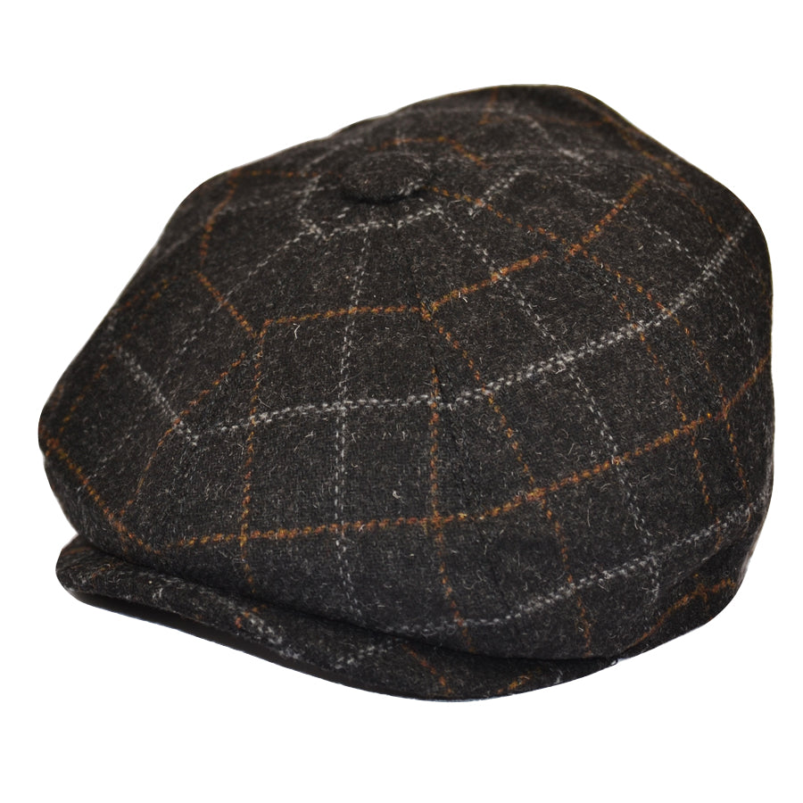 Black Check Tweed 8 Panel Cap