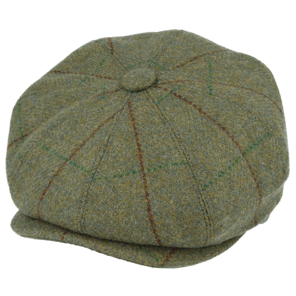 G&H Genuine Tweed Newsboy Cap with Durable  Green with Red Stripe