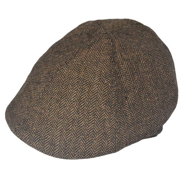 G&H Six Panel Herringbone Flat Cap