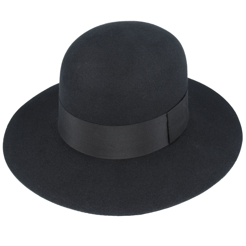 Bolero Wide Stiff Brim Round Crown Wool Hat - Black
