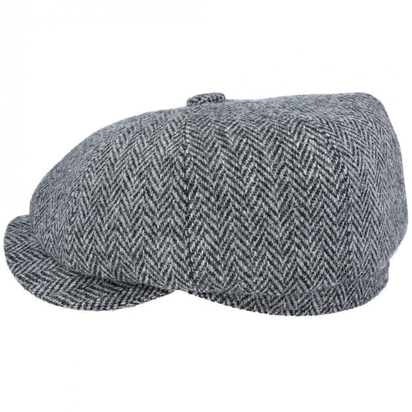Gladwin Bond Harris Tweed Wool Herringbone Newsboy Cap - Grey