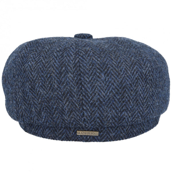 Gladwin Bond Harris Tweed Wool Herringbone Newsboy Cap - Navy-Blue