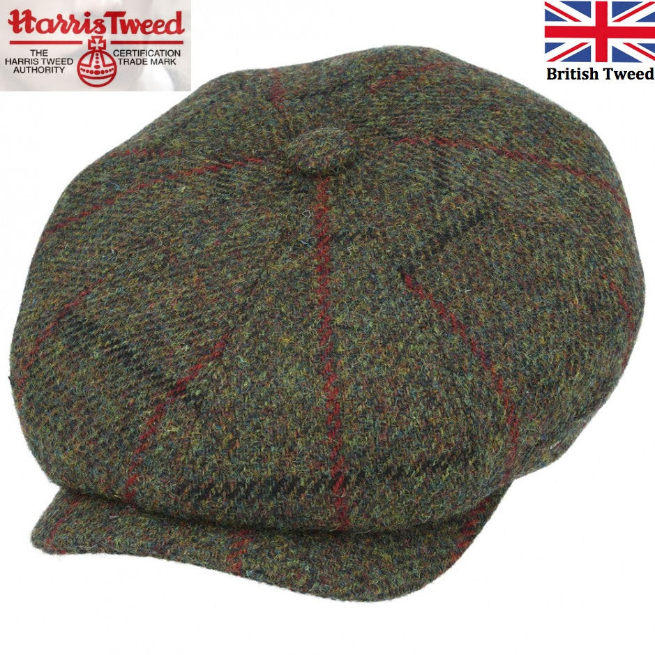 Gladwin Bond Harris Tweed Check Wool Newsboy Cap - Green