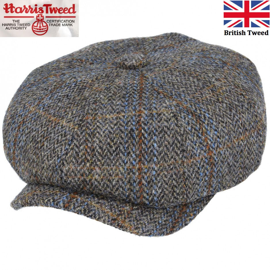 Gladwin Bond Harris Tweed Wool Newsboy Cap - Green