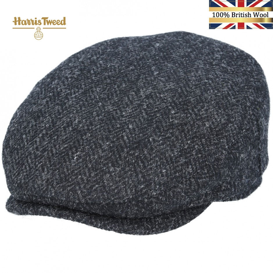 Harris Tweed 100% British Wool Herringbone Flat Cap - Black-Charcoal