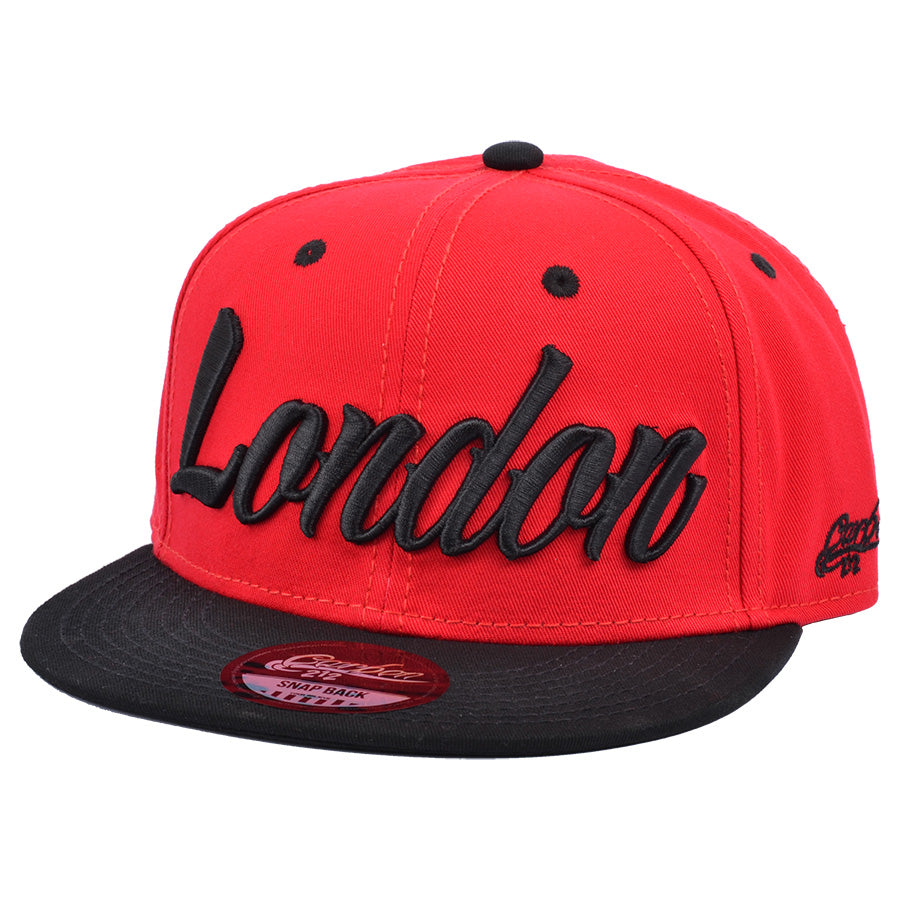 London Snapback Cap - Red-Black