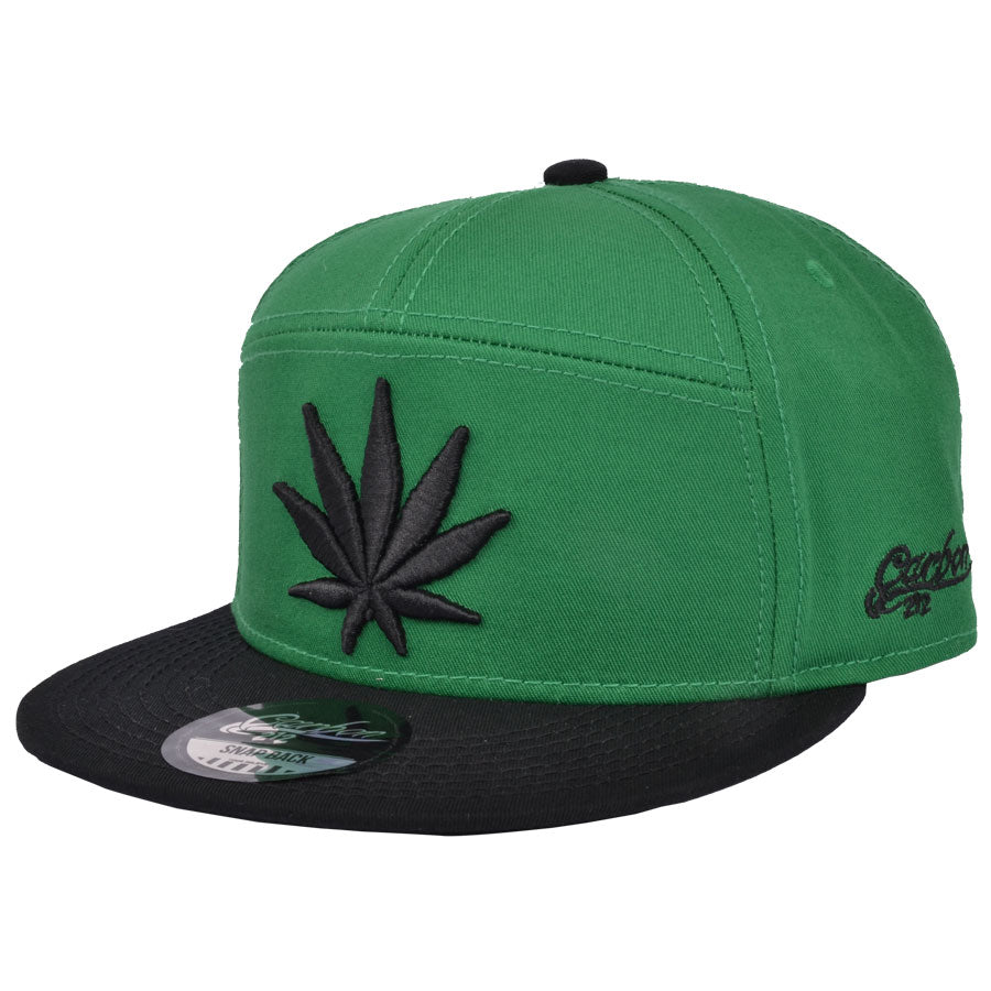 Leaf  Snapback Cap - Green-Black