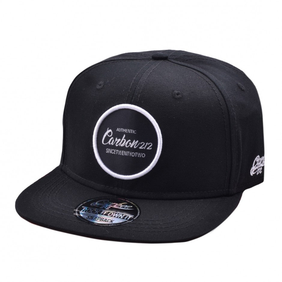 Carbon212 Authentic Round Patch Snapback - Black