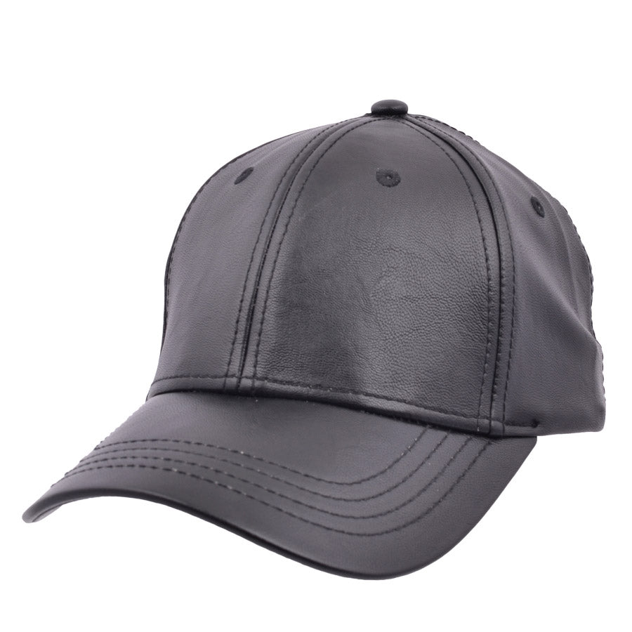 Carbon212 Leather Look Curved Visor Baseball Caps