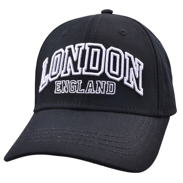Carbon212 London England Curved Visor Baseball Caps - Black