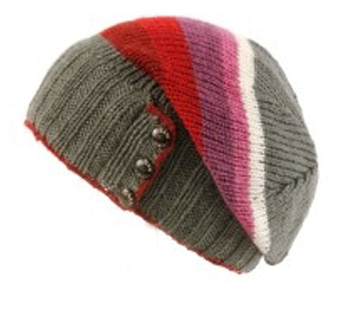 KuSan Winter Fleece Lined Floppy Beret Hat - Rose Multi-Colour