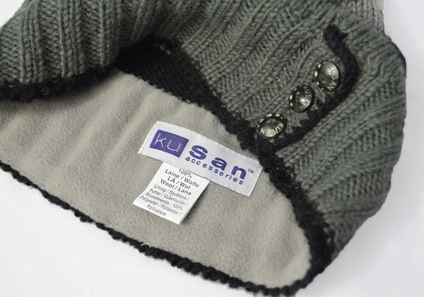 KuSan Winter Fleece Lined Floppy Beret Hat - Grey Multi-Colour
