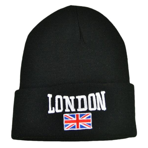 London Flag Beanie Hat - Black