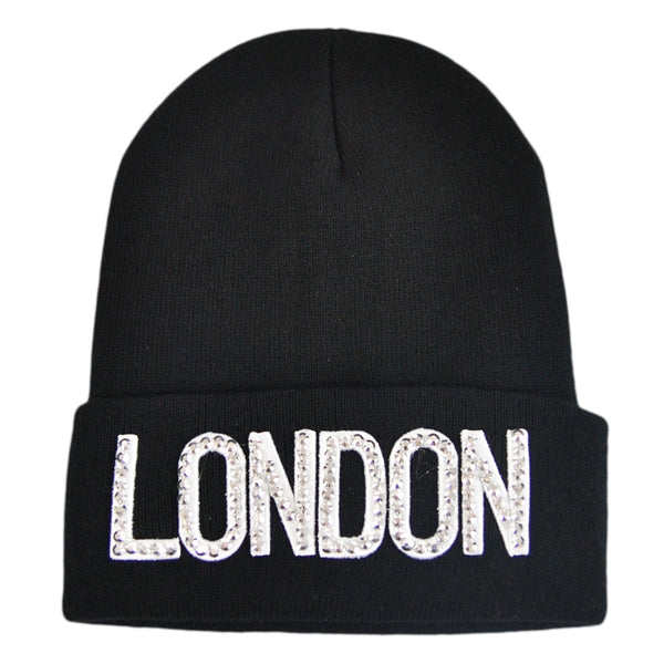 London Diamond Beanie Hat -Black,Pink,Grey,White,