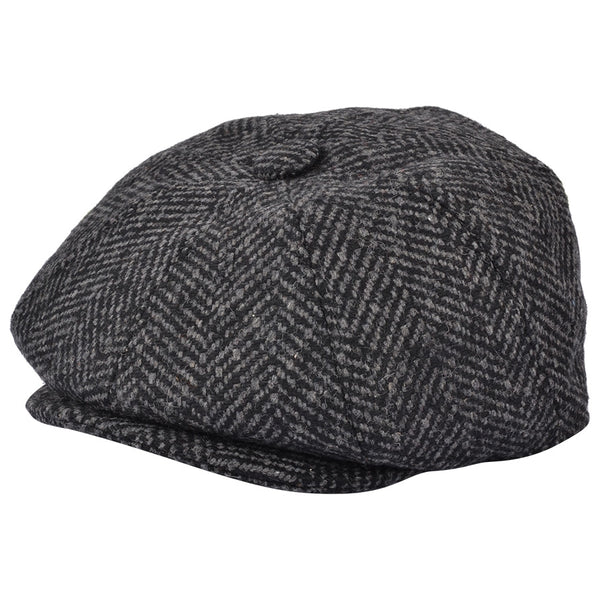 G&H Wool Herringbone 8 Panel Newsboy Cap - Charcoal