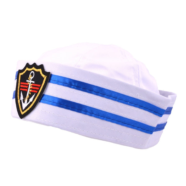 Costume Sailor Cap - White-Blue