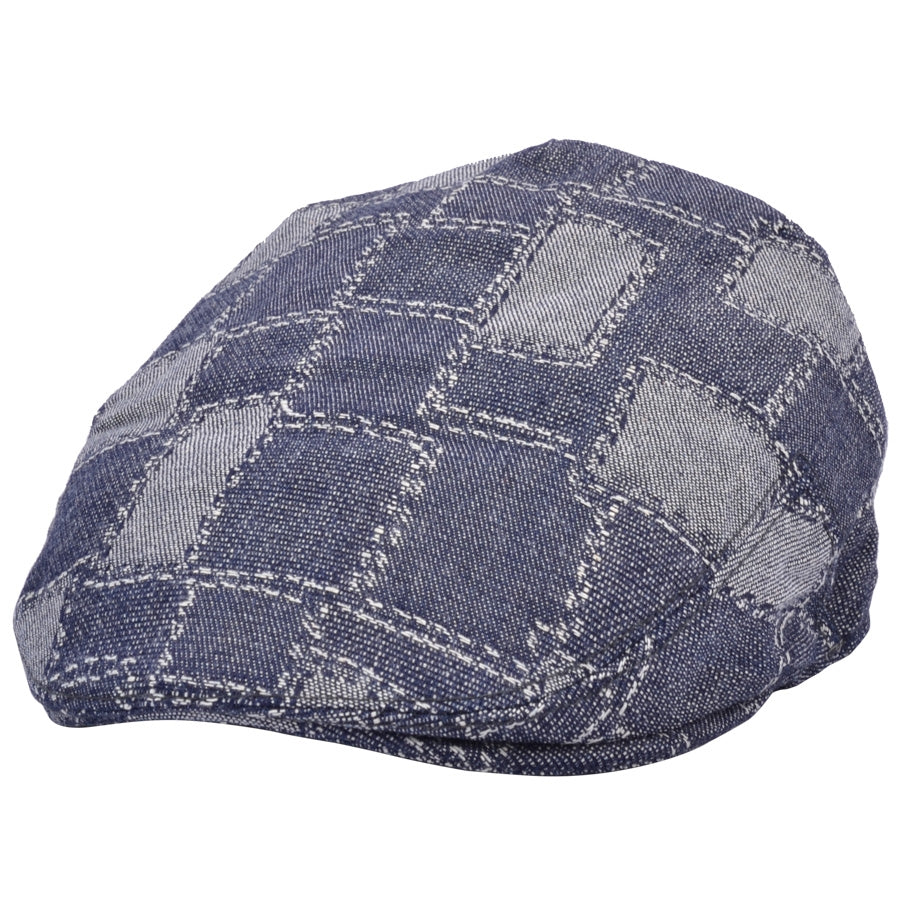 G&H Denim Print Patch Flat Cap - Blue