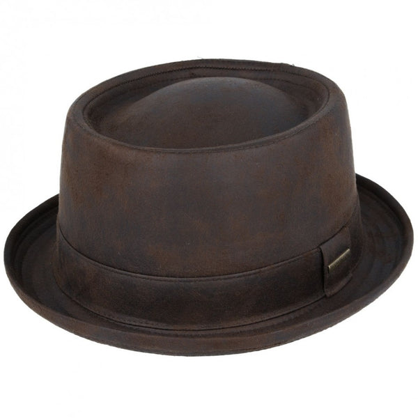 Gladwin Bond Leather Look Pork Pie Hat - Black