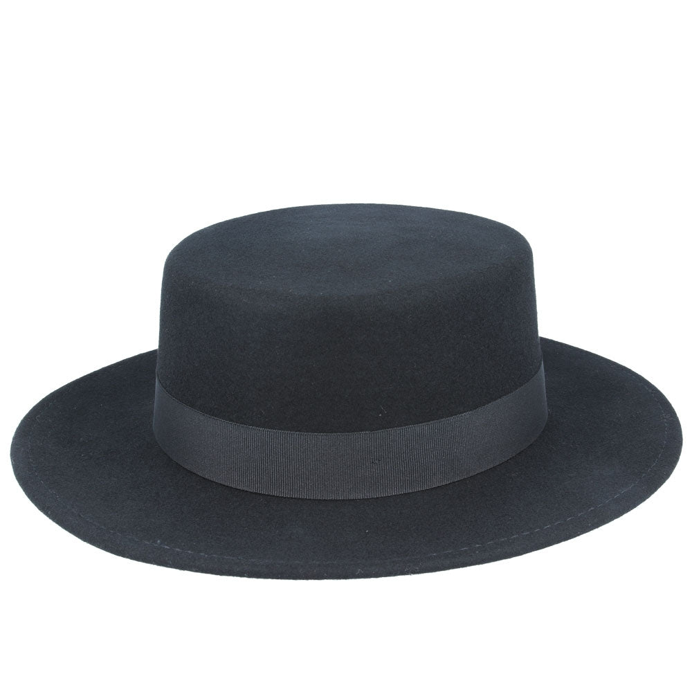 Maz Wide Stiff Brim Wool Pork Pie Hat - Black