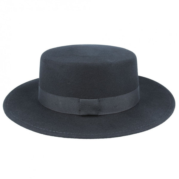 Wide Stiff Brim Wool Pork Pie Hat - Black