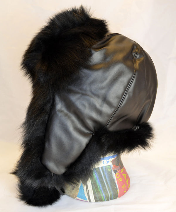 Real Fox Fur Trapper Hat - Black