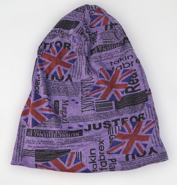 Union Jack Newspaper Print Soft Beanie Hat
