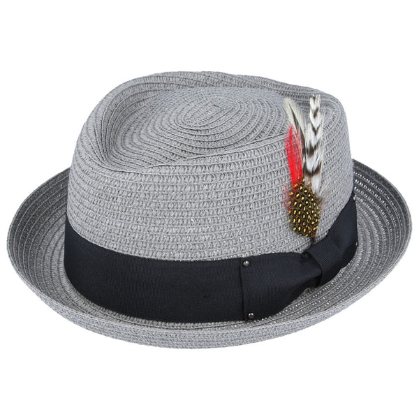 Maz Diamond Crown paper straw Pork Pie Hat - Grey