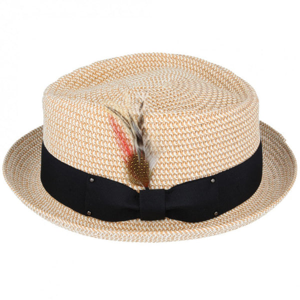 Maz Daimond Crown paper straw Pork Pie Hat - Natural