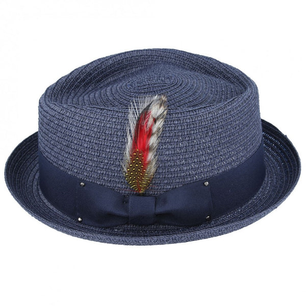 Maz Daimond Crown paper straw Pork Pie Hat - Navy