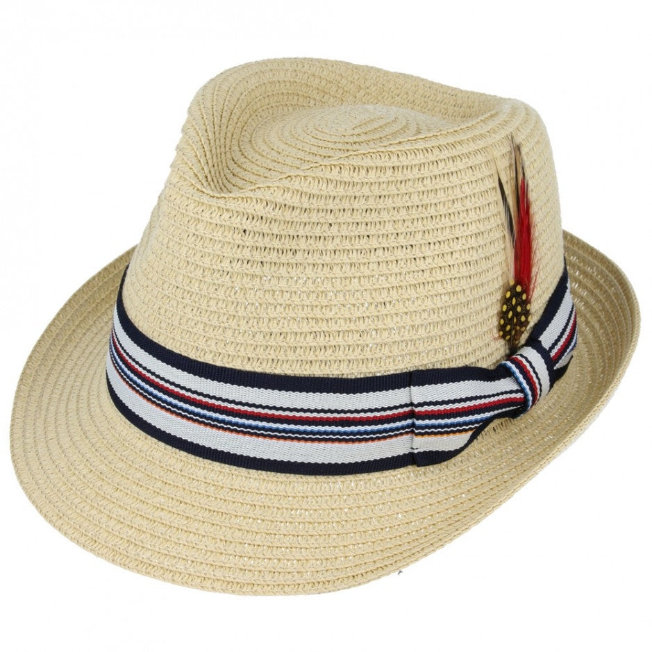 Maz Summer Paper Straw Trilby Hat With Strip Band - Beige