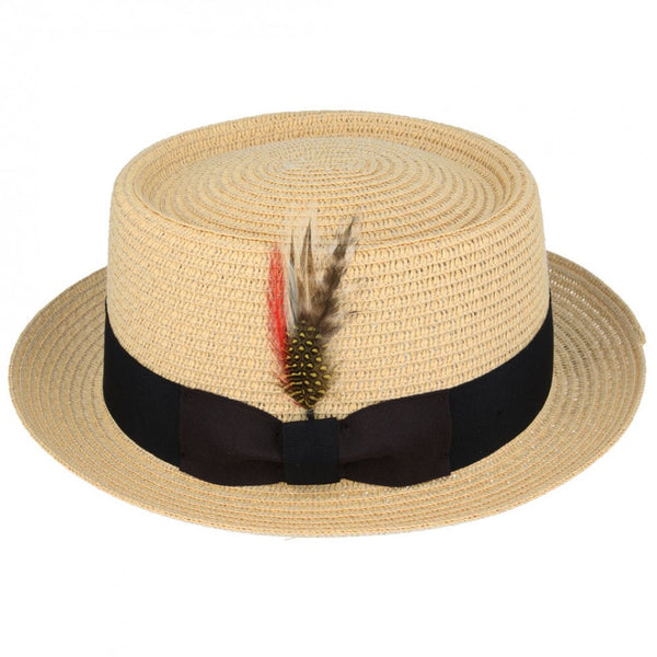 Maz Paper Straw Pork Pie Hat - Beige