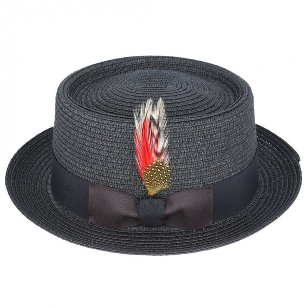 Maz Paper Straw Pork Pie Hat - Black