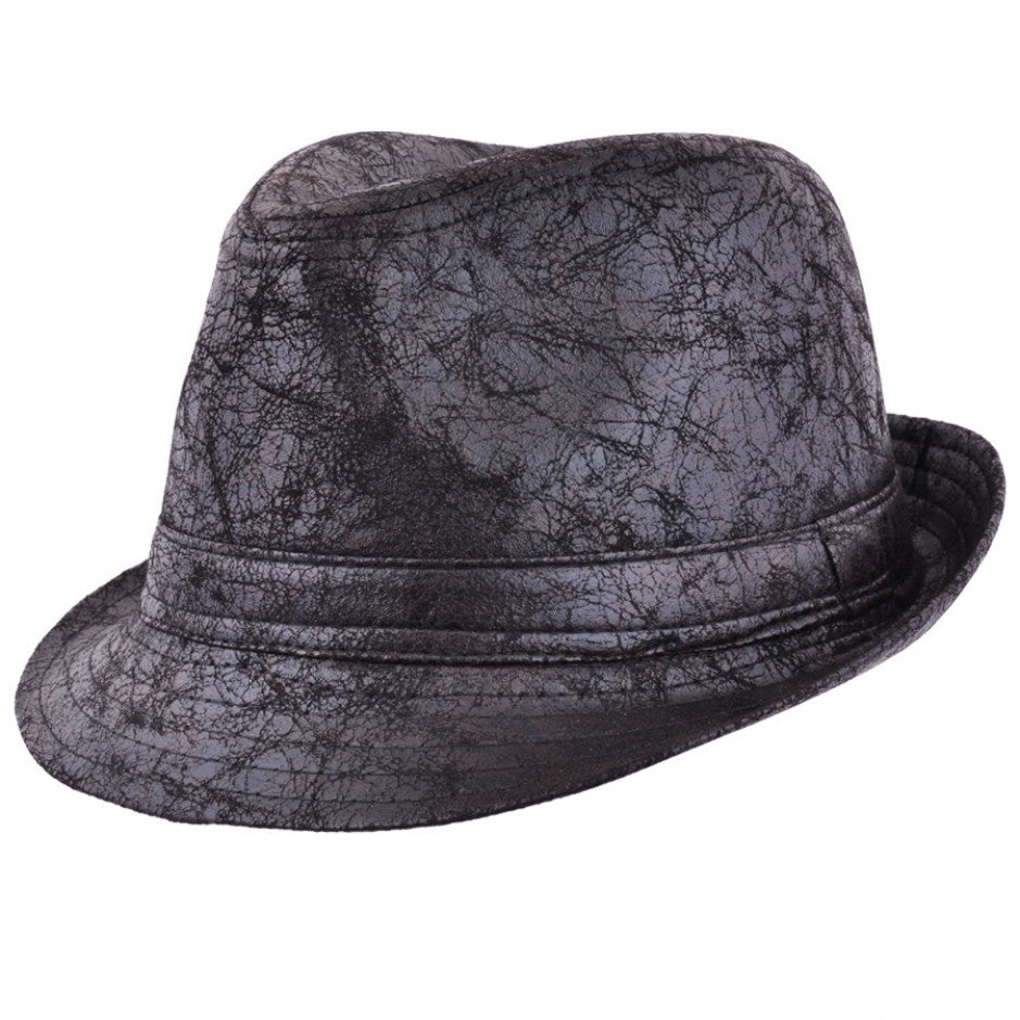 Maz Cracked Leather Look Distressed Vintage Trilby Hat