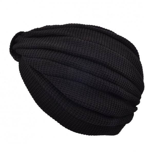 Maz Trendy Stretchy Turban Hat - Black-Wine