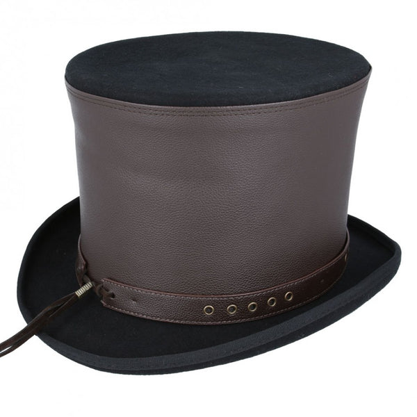 Maz Steampunk Top Hat With Laced Brown Leather Look Band - Black-Brown
