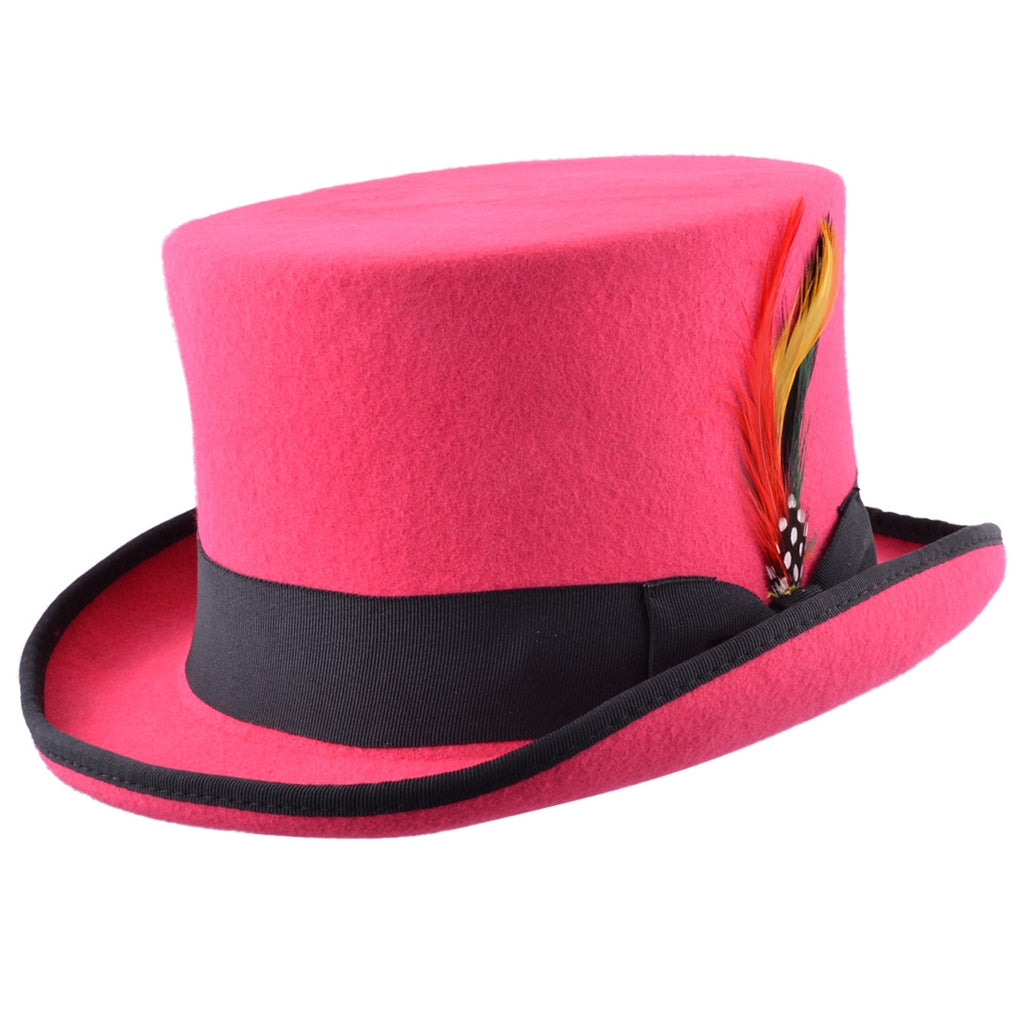 Maz Wool Top Hat With Black Band - Pink