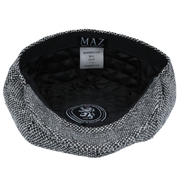 Maz Salt Pepper 8 Panel Newsboy Cap - Grey