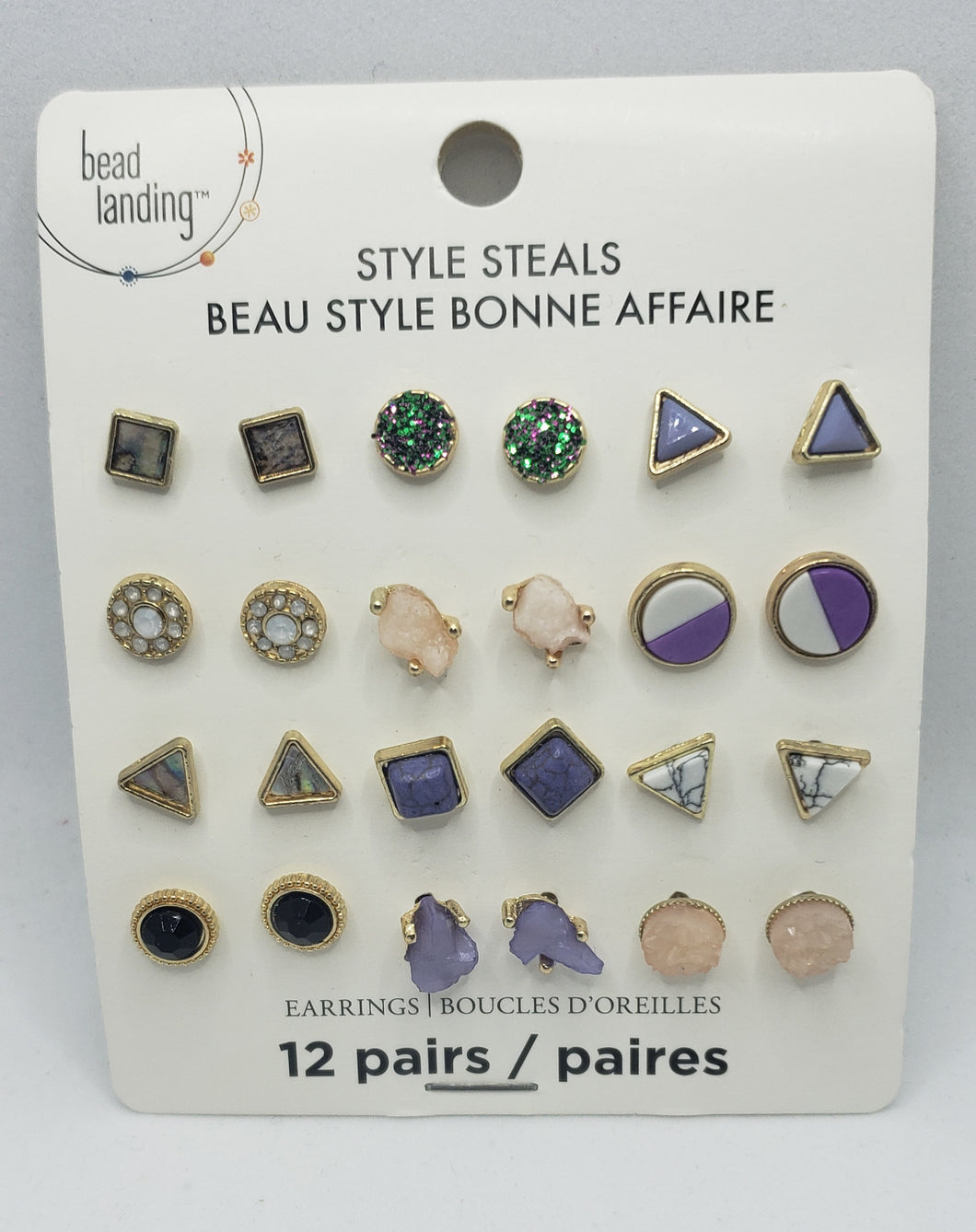 12 Stud Earrings Set- Purple