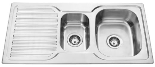 BUK Right Hand 1 & 1/4 Bowl Sink with Drainer BK98.1RS