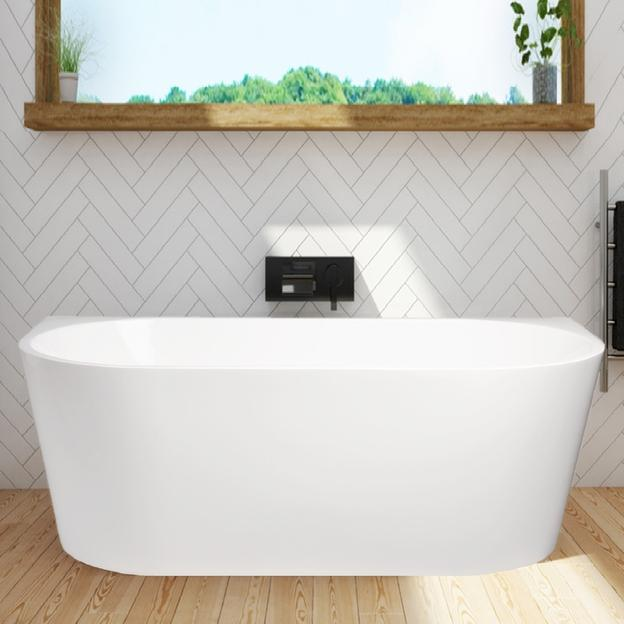 Cassa Design Auris 1500mm Back to Wall Bath Gloss White BT-AU1500