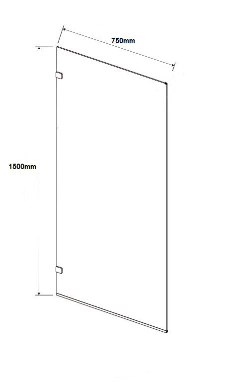 750 X 1500mm Frameless Fixed Bath Screen