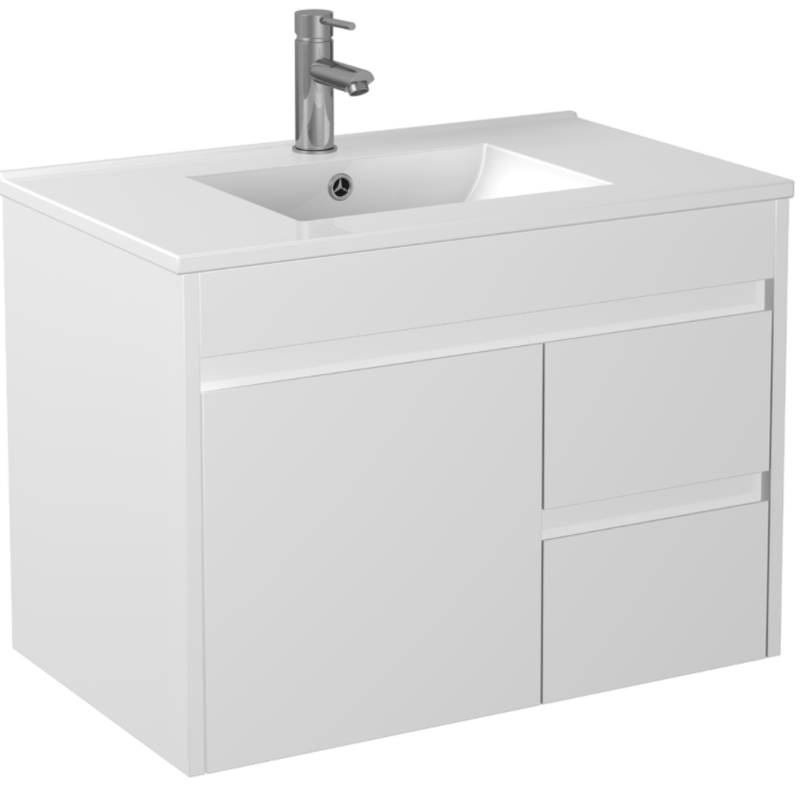 PVC 750 X 460MM Wall Hung Vanity Right Hand Drawers