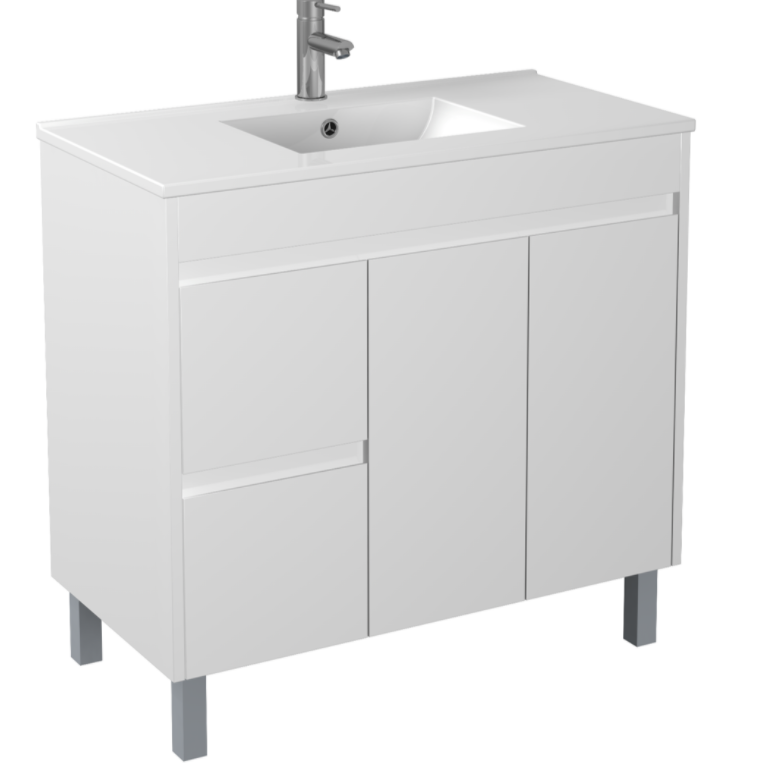 PVC 900 X 460MM Floor Standing Vanity Left Hand Drawers