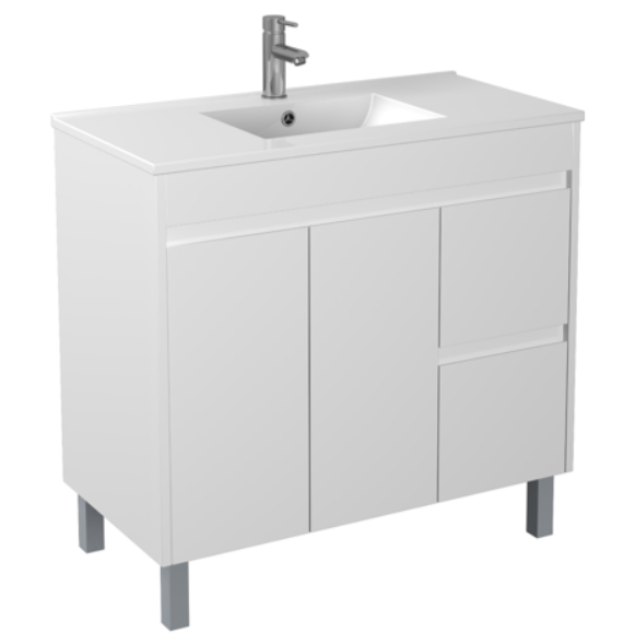 PVC 900 X 460MM Floor Standing Vanity Right Hand Drawers