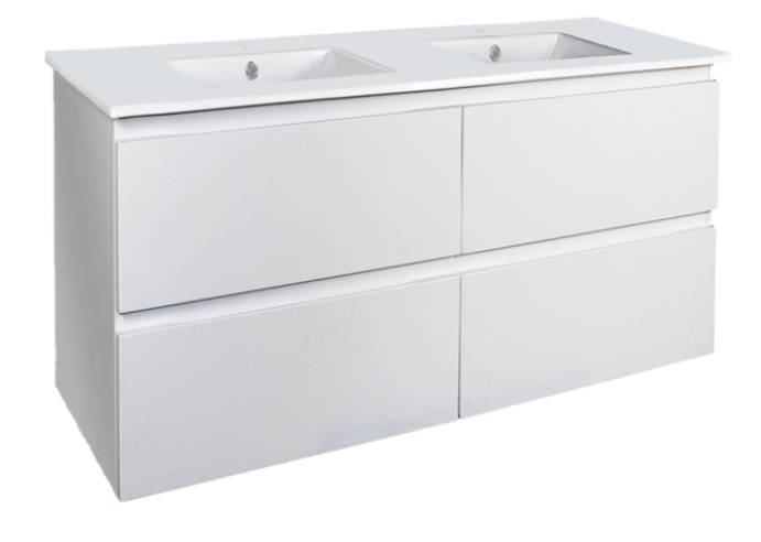 Riva PVC 1200 X 460MM Double Bowl Wall Hung All-Drawer Vanity