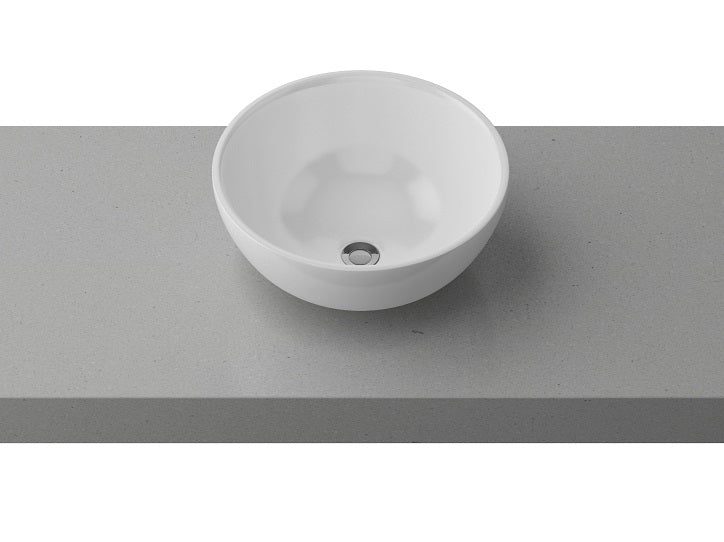 Timberline Rose Above Counter Ceramic Basin Gloss White BAS32RO-WG