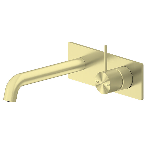 Nero Mecca Up Wall Basin/Bath Mixer Brushed Gold, 185mm Spout NR221907b185BG