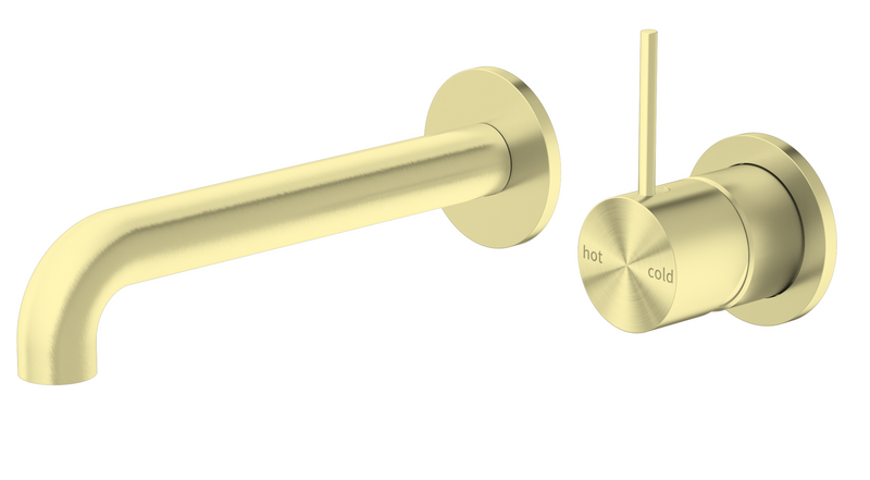 Nero Mecca Up Wall Basin/Bath Mixer Brushed Gold (Separate Plates), 185mm Spout NR221907d185BG