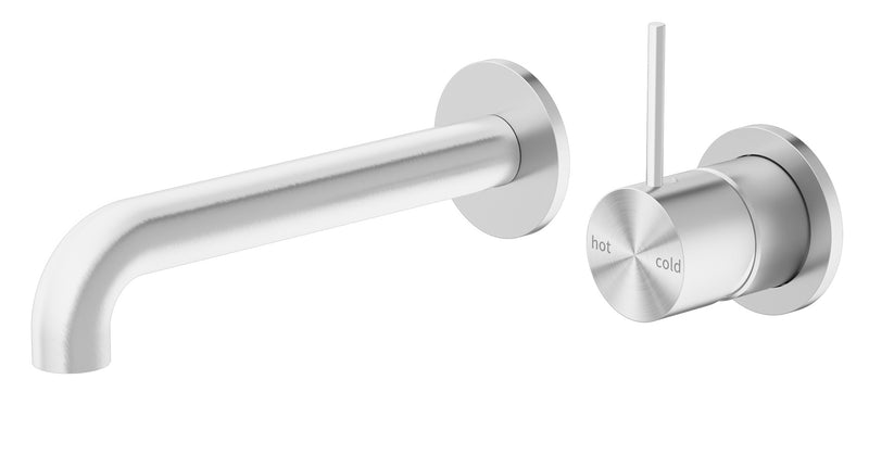 Nero Mecca Up Wall Basin/Bath Mixer Brushed Nickel (Separate Plates), 185mm Spout NR221907d185BN